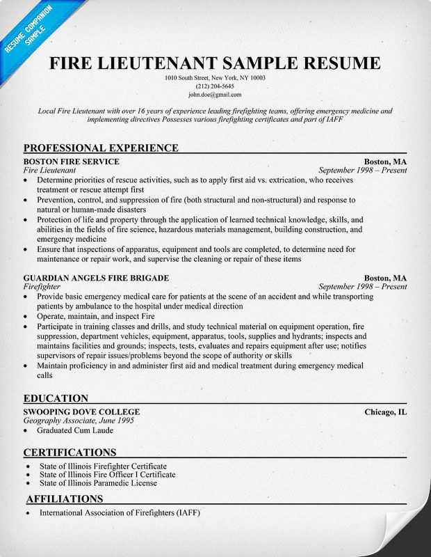 Fire Lieutenant Resume Sample Resumecompanion Firefighter