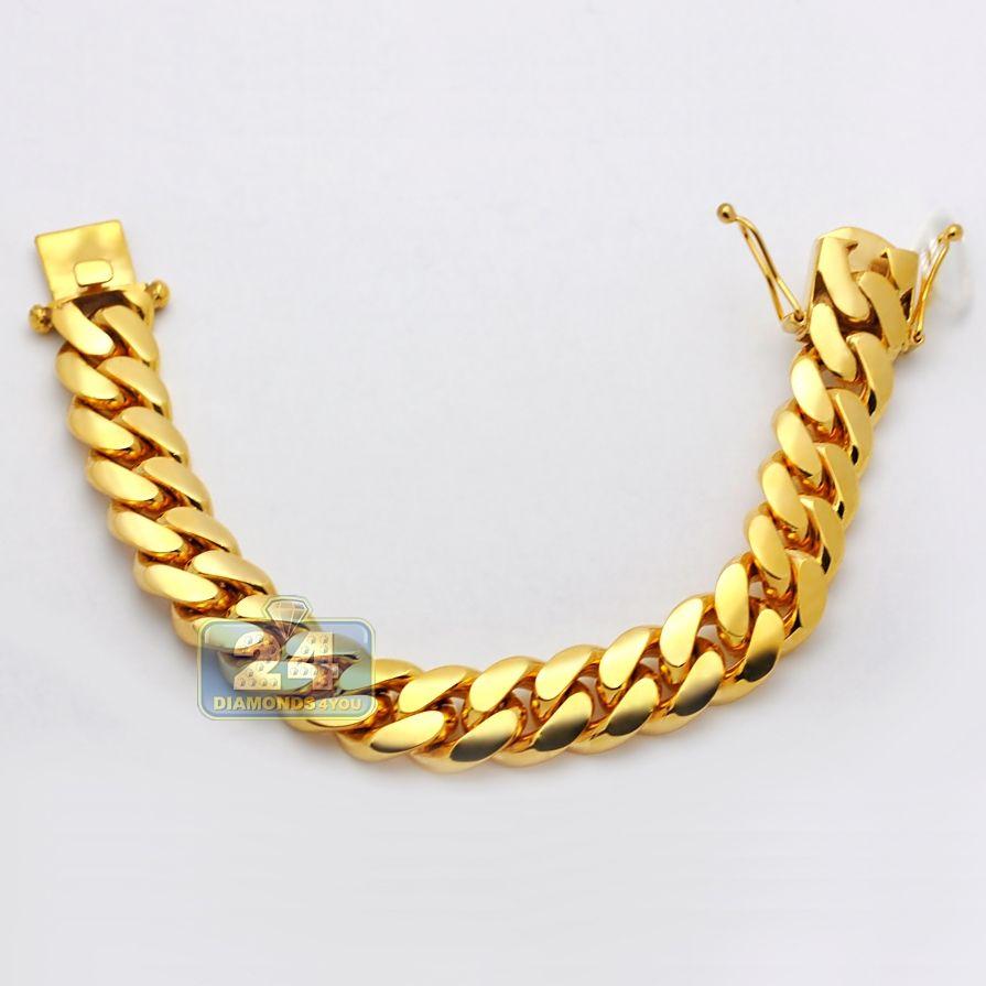 0b56505bff934 10K Yellow Gold Miami Cuban Link Mens Bracelet 16 mm 9 Inches ...