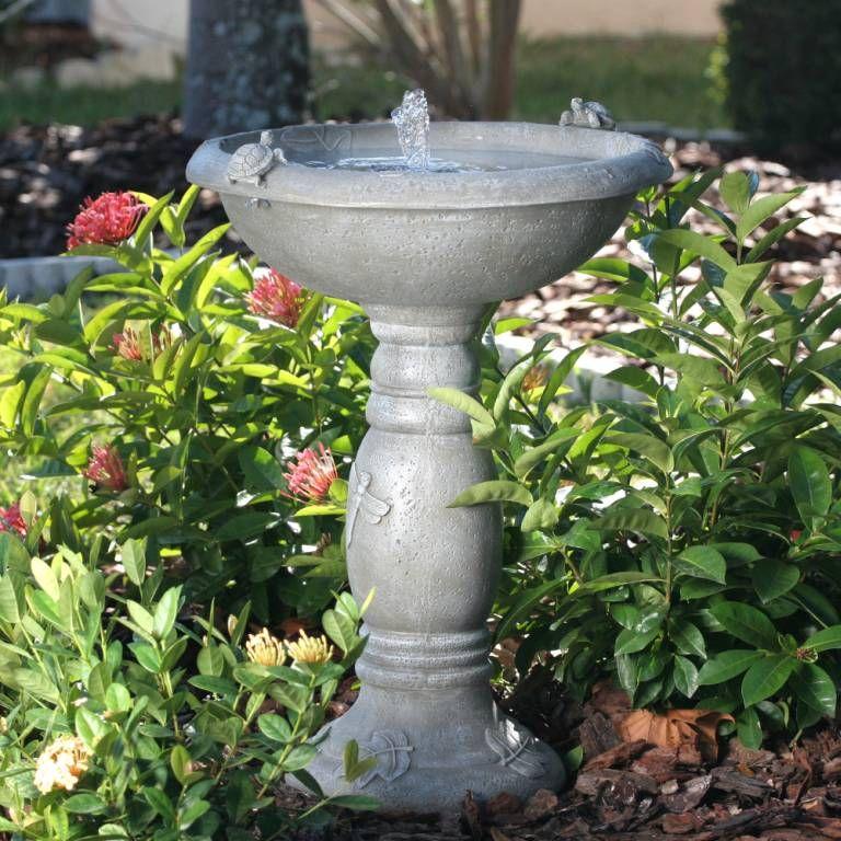 Outdoor Country Garden Bird Bath With Solar Fountain 20622r01