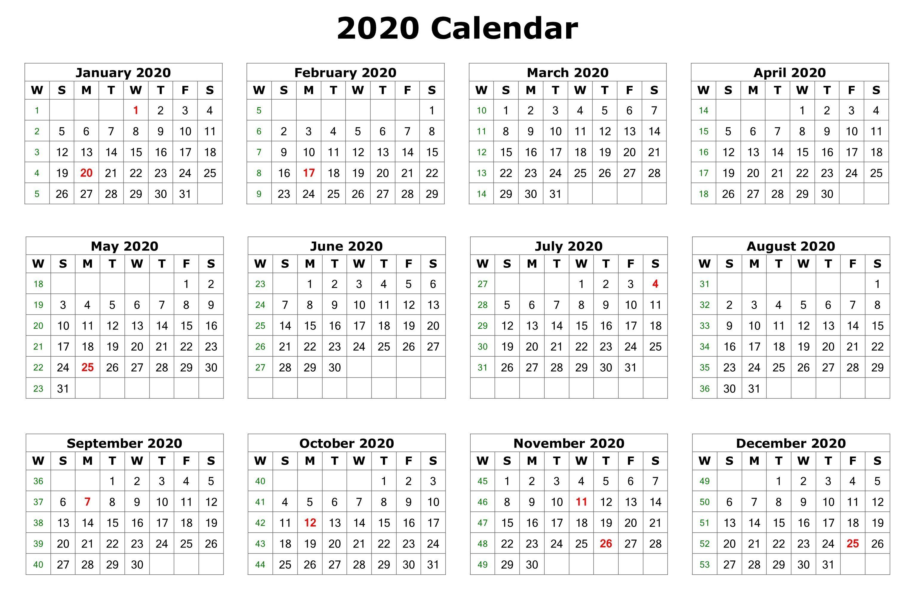 2020 One Page Calendar Printable Calendar 2020 12 Month Calendar Printable Calendar Template Monthly Calendar Printable