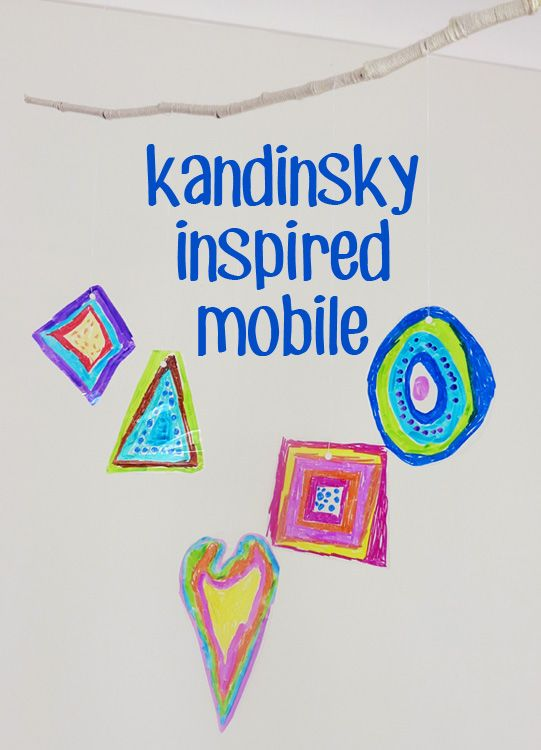 Exploring Colour & Light: Kandinsky Inspired Mobile. So easy for kids to make and it is so much fun to see the light filtering through the coloured shapes.