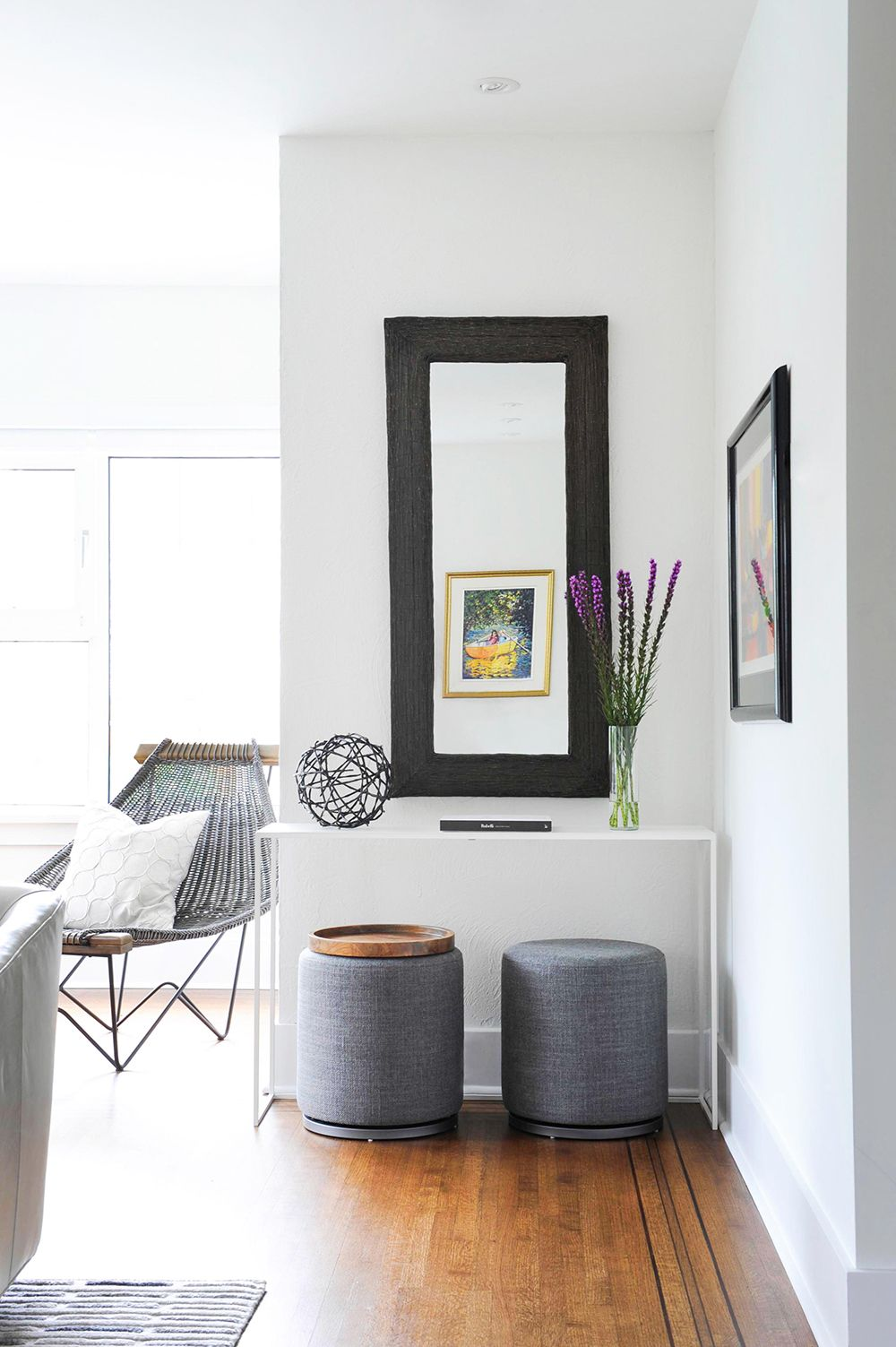 An awkward living room corner transforms into a functional nook ...