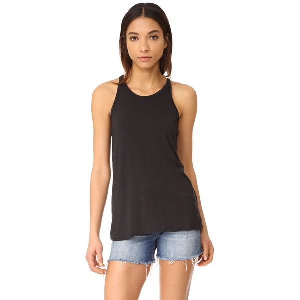 David Lerner Racer Front Tank ($35) ❤ liked on Polyvore featuring tops, classic black, jersey tank top, racer back top, slimming tops, strap tank and spaghetti-strap top