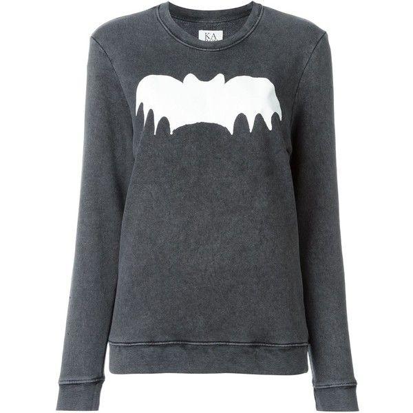 Zoe Karssen Bat Print Sweatshirt (£74) ❤ liked on Polyvore featuring tops, hoodies, sweatshirts, grey, print sweatshirt, grey top, print top, zoe karssen and zoe karssen sweatshirt