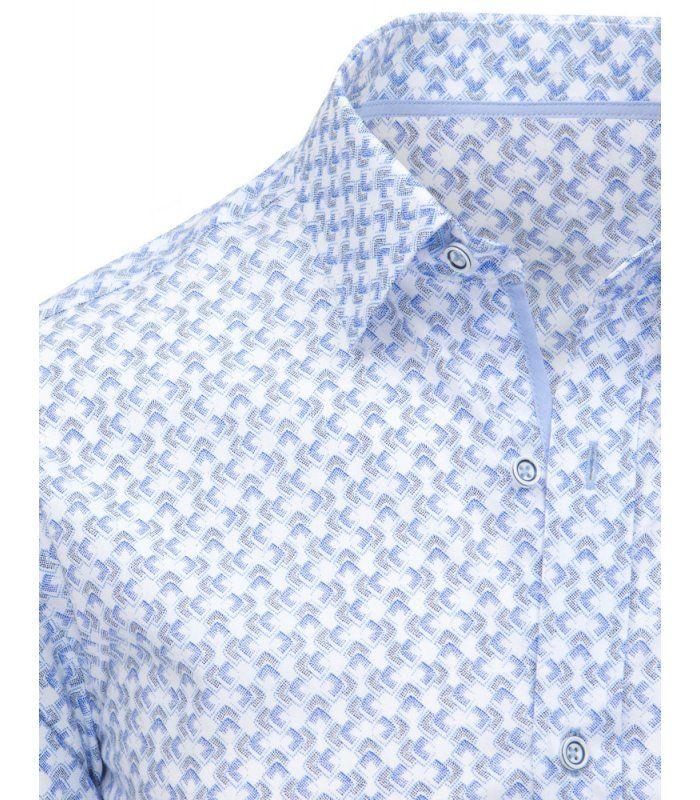 67034c3a7fa5 Biela pánska košela s dlhými rukávmi a vzorom