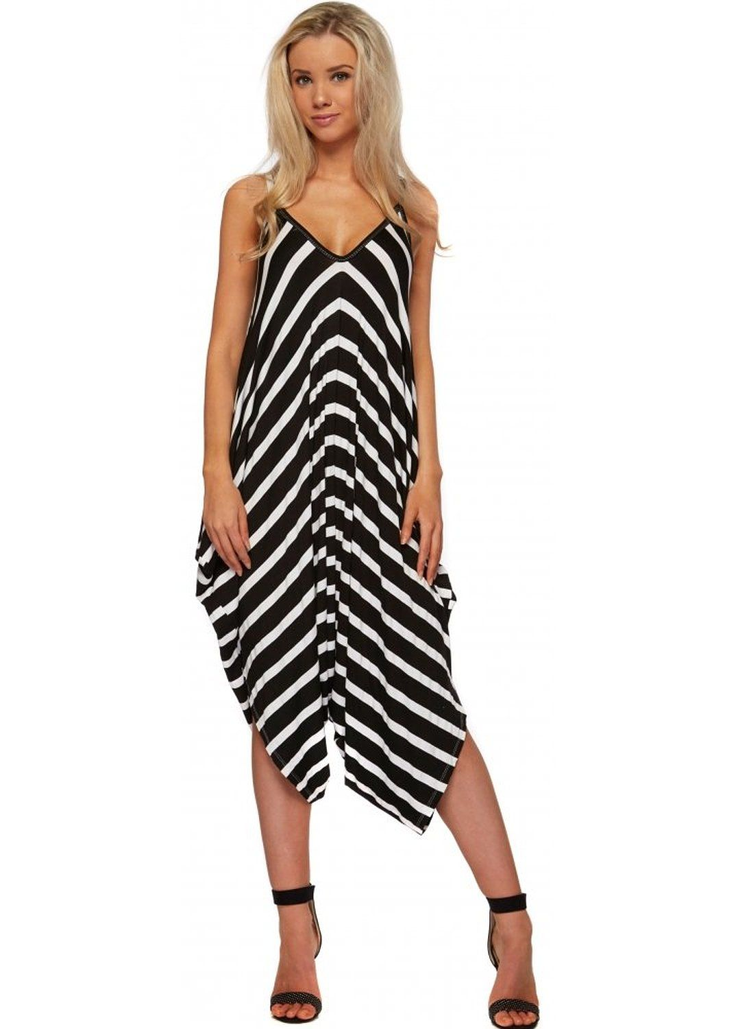 550d07063780 Designer Desirables Black   White Striped Jersey Harem Jumpsuit One Size  Black  Amazon.co.uk  Clothing