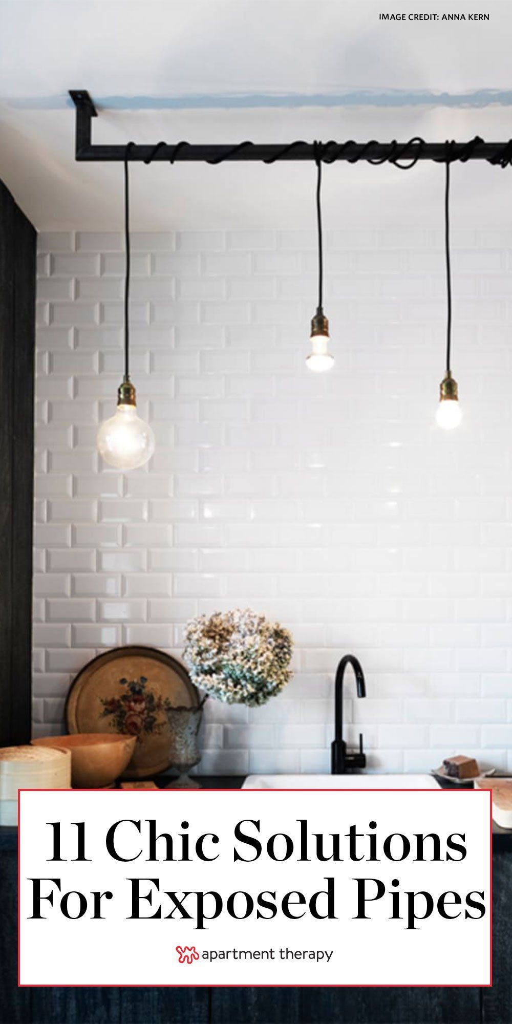 Here are 11 brilliant solutions to make exposed pipes look chic. #diy #diyideas #oldhome #diyprojects #exposedpipes #pipingideas #livingroomideas #kitchenideas #pipes #industrialdecor #industrialdesign #radiator