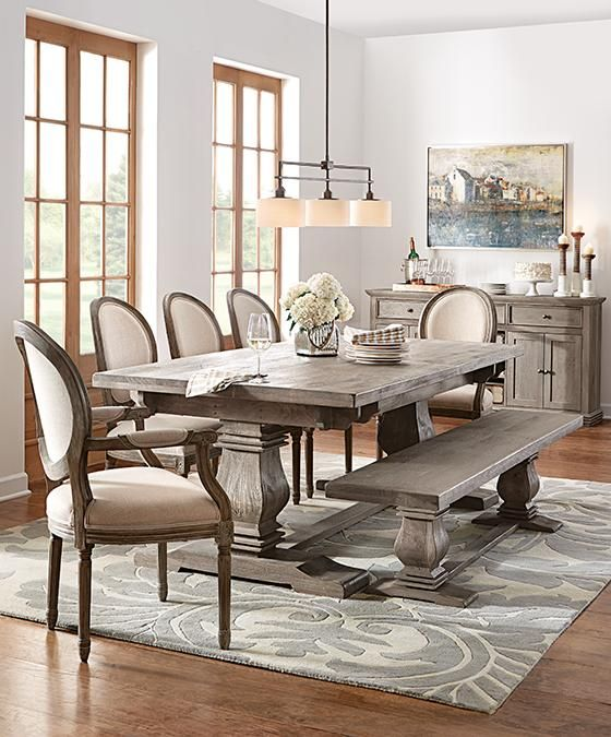 Aldridge Antique Grey Extendable Dining Table Dining Room