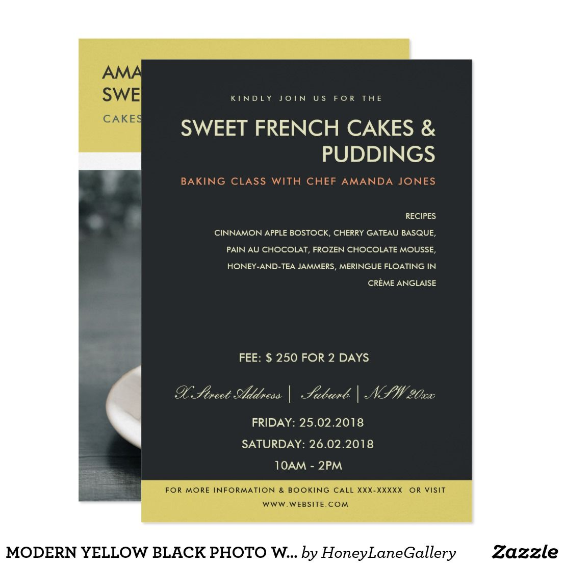 Modern Yellow Black Photo Workshop Invite Template Zazzle Com