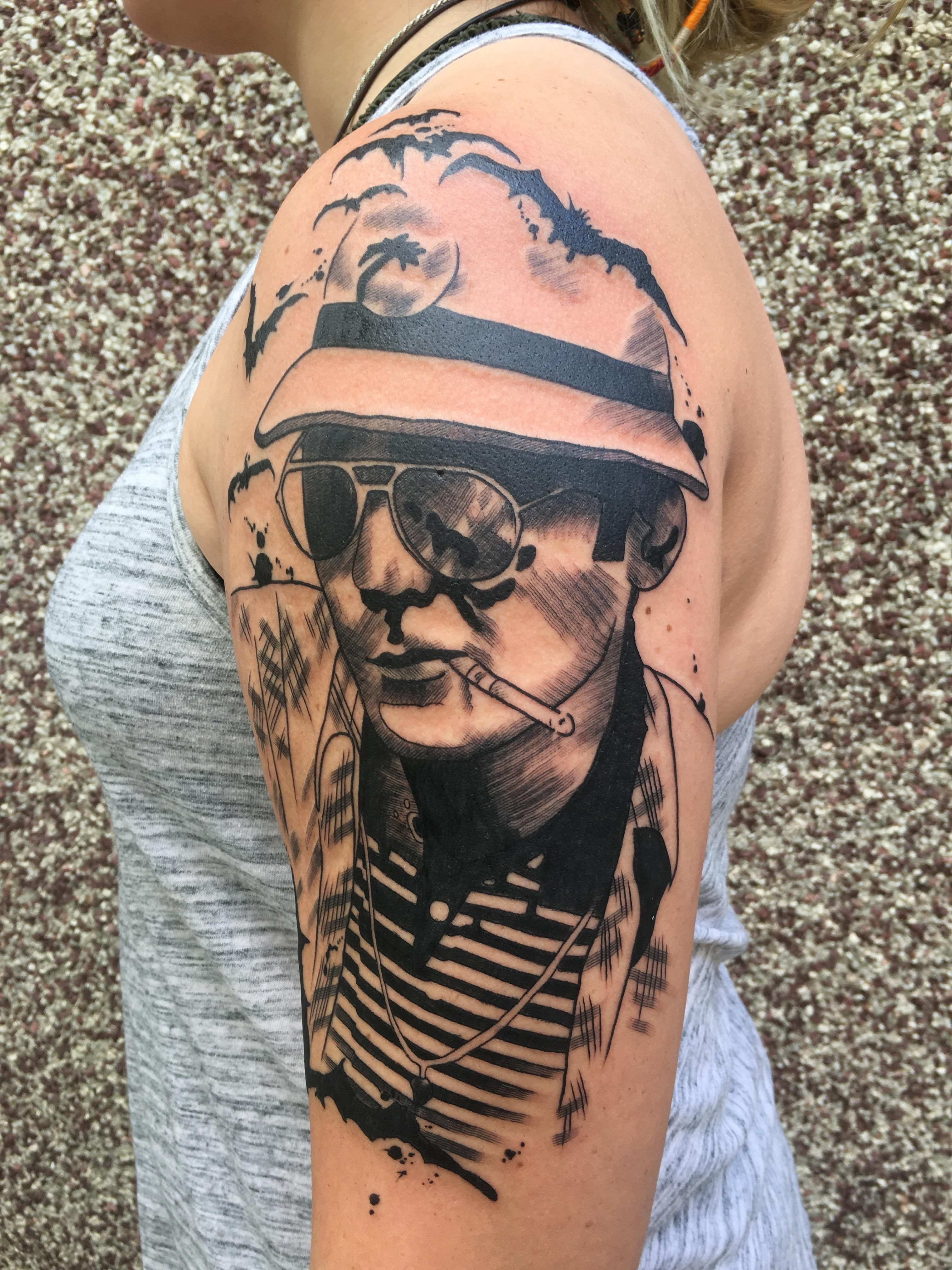 hunter s thompson tattoo by cody meyer at mecca tattoo in mankato