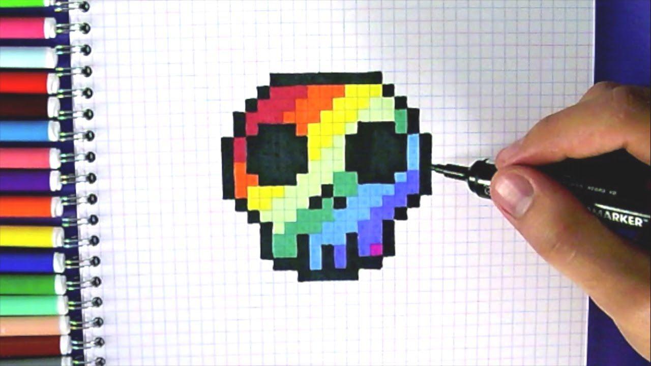 Pixel Tête De Mort Arc En Ciel Youtube Coloriage Pixel