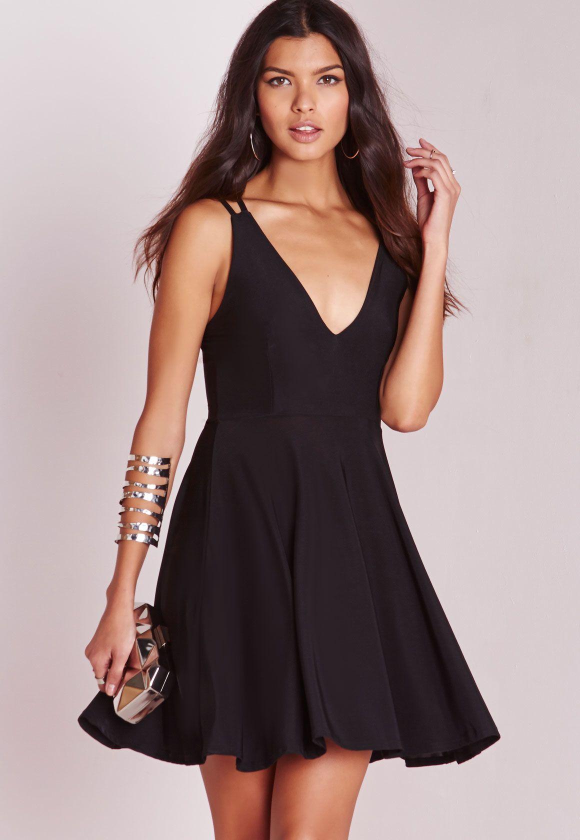 Slinky V Neck Skater Dress Black Black Dresses Dresses Uk Womens Dresses