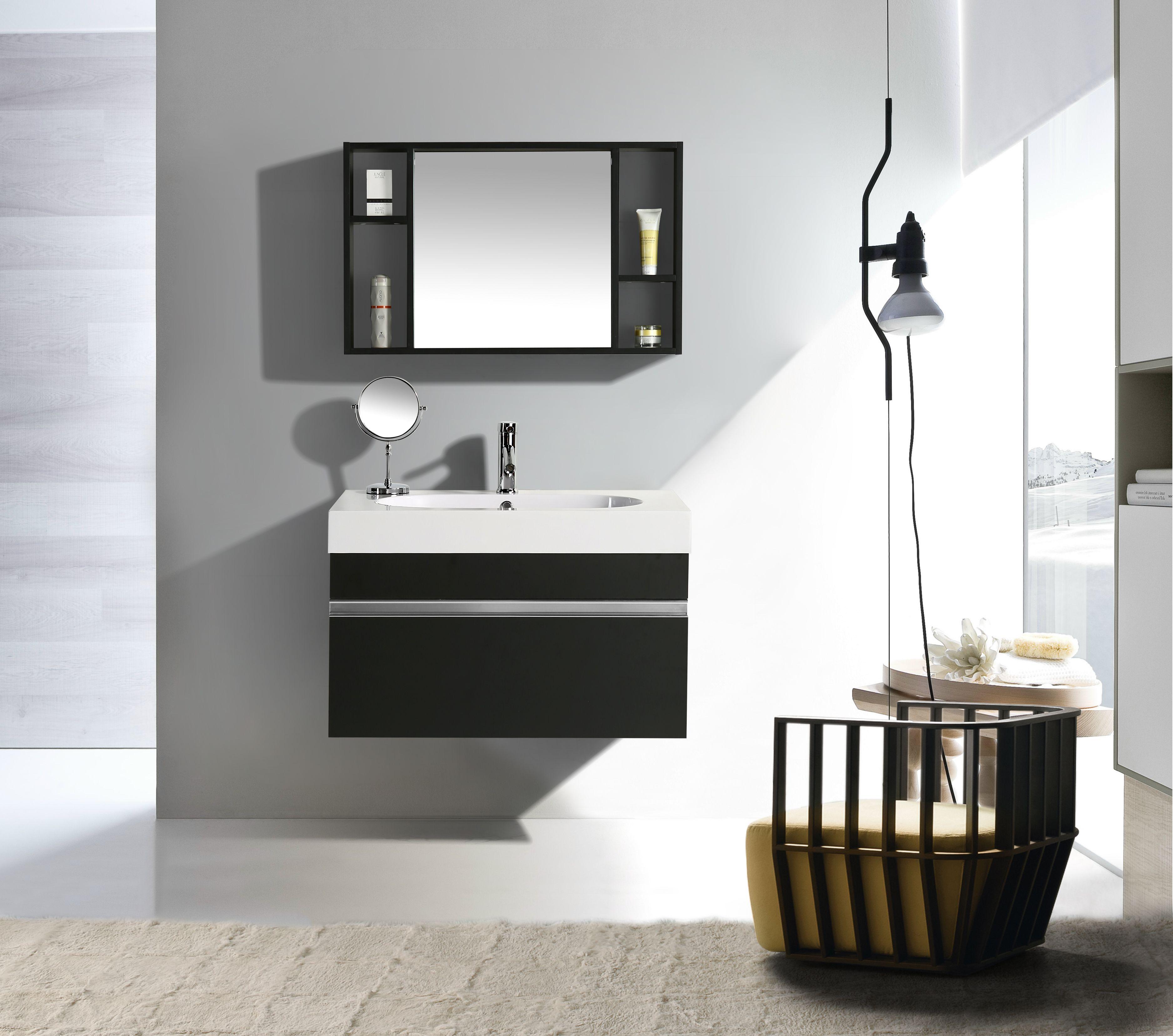 Mobile Arredo Bagno Idea 90 cm Sospeso Moderno Nero — Import For Me ...