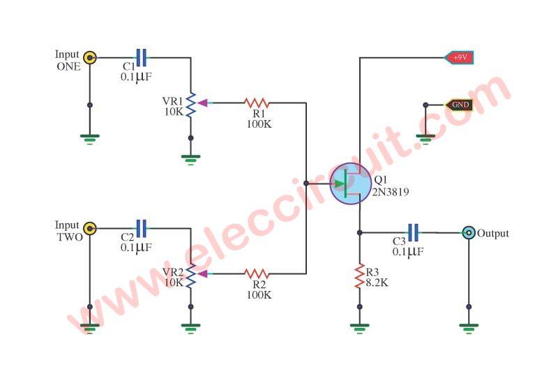 simple audio mixer circuit using 2n3819 fet modules boards rh pinterest com
