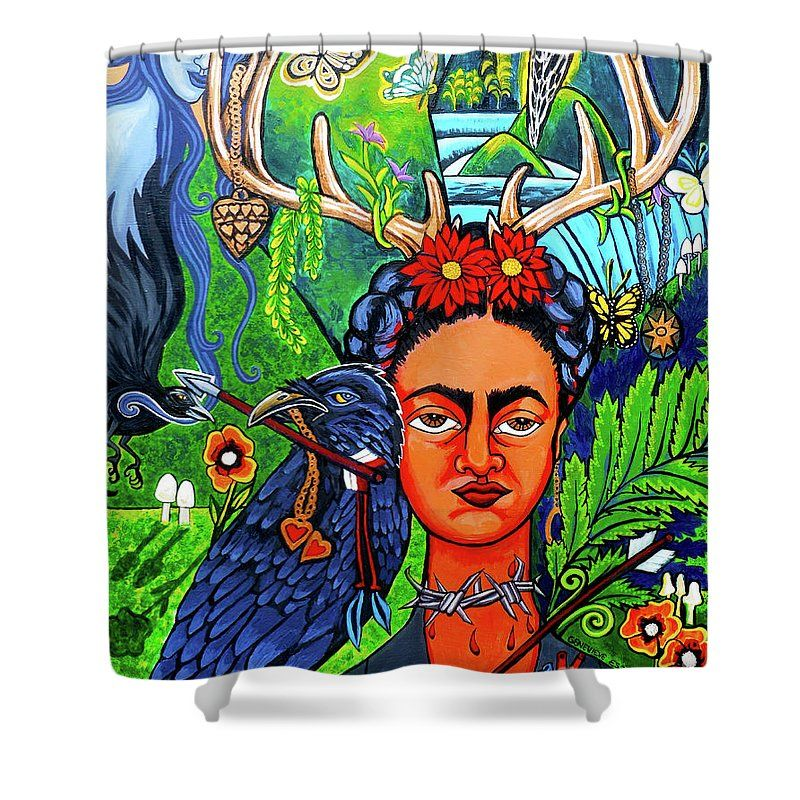 Frida Kahlo Shower Curtain Featuring The Painting Frida Kahlo With