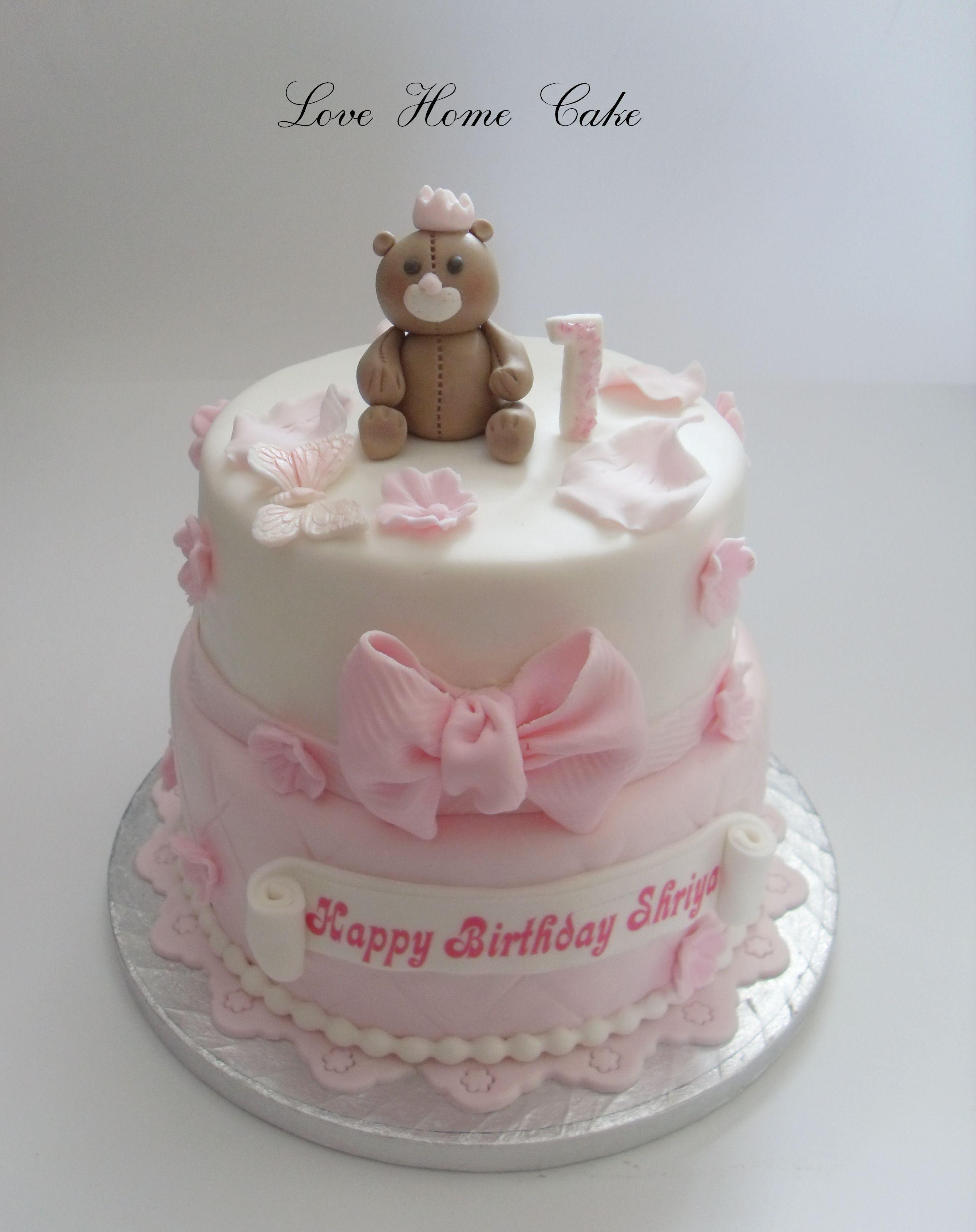 2 Tier 1st Birthday Cake For A Girl Cake Minnie Mouse Birthday Cakes First Birthday Cakes