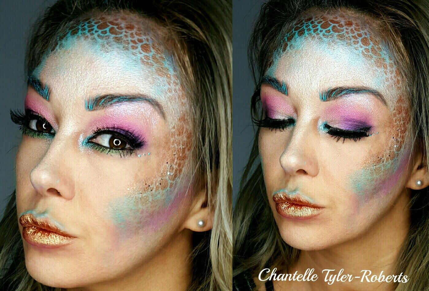 This was my first play with my paints when i got my kit i called it mermaid i did rainbow eyemake up but i will defo go back and do a mermaid 2 at some point as i progress #mermajd #mua #bodyart #faceart #facepaint #dupemag #artist #makeupartist #artisticmakeup  #sfx