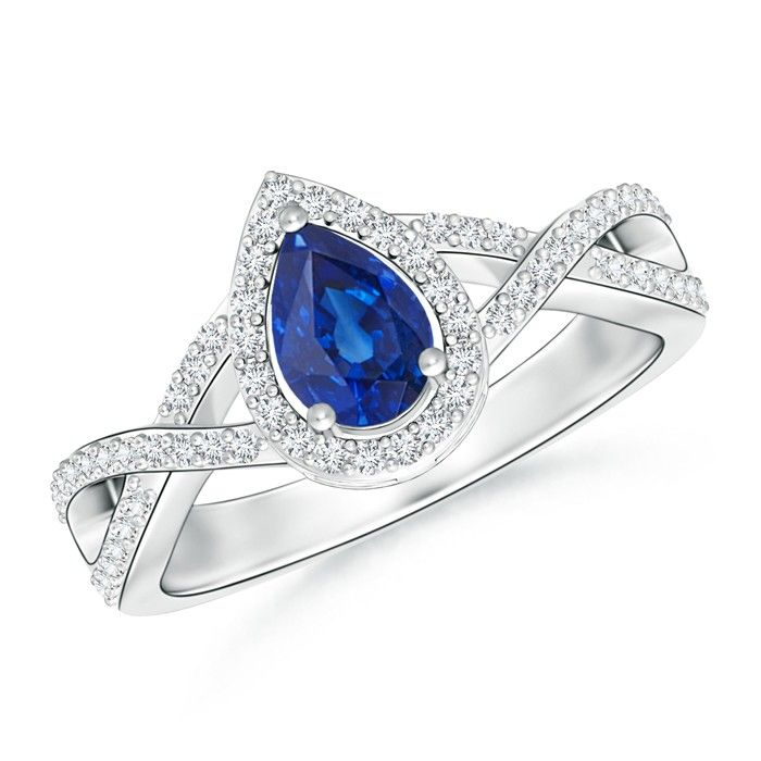 Angara Pear Blue Sapphire Halo Ring With Diamond Shoulders in 14k Yellow Gold OLbwaO4Dj