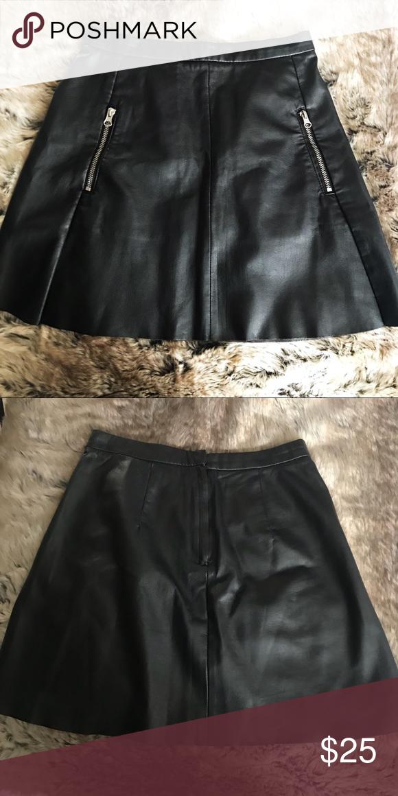 bd94e7b990 H&M Vegan Leather Circle Black Skater Skirt Zipper H&M Like new Black soft faux  vegan leather US 4 Zipper pockets H&M Skirts Mini