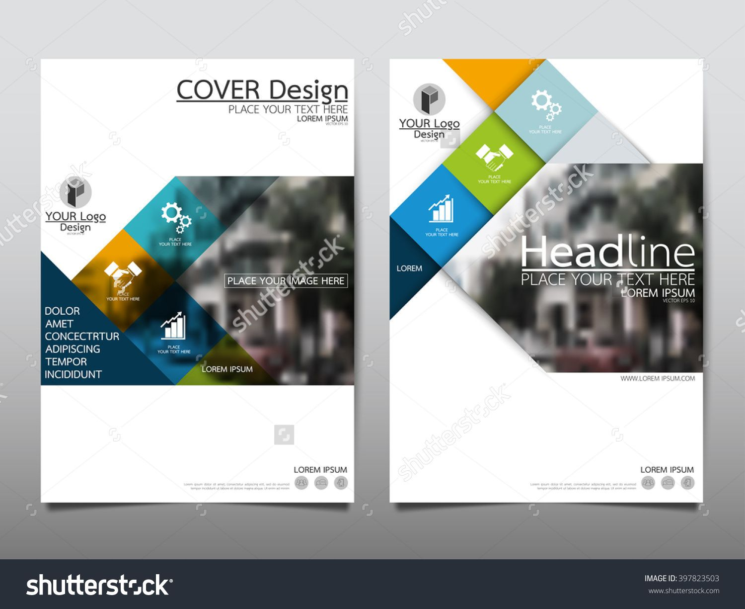 Blue Square Annual Report Brochure Flyer Design Template Vector