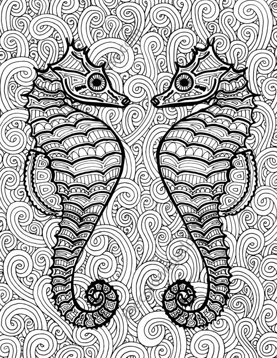 Seahorse coloring page, adult coloring sheet, ocean colouring sheet - fresh abstract ocean coloring pages