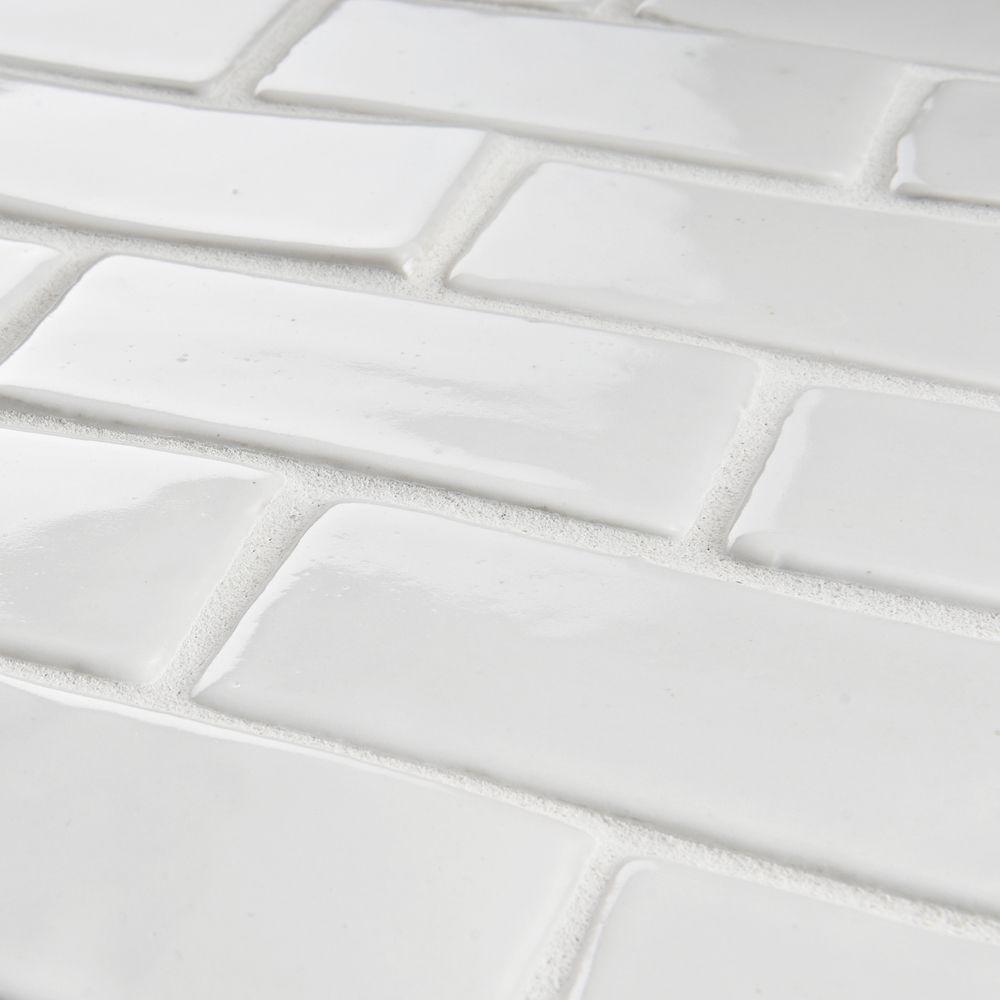 Somertile 12x12 In London Subway White Handmade Ceramic Mosaic Tile Pack Of 5 Ceramic Mosaic Tile Mosaic Flooring Handmade Ceramic Tiles