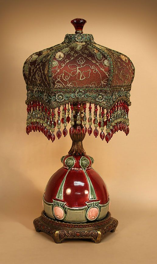 French Barbotine Ceramic Table Lamp With Hand Beaded Fringe Beaded Lamps Victorian Lampshades Victorian Lamps