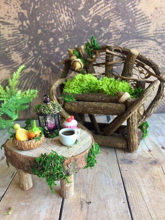 Miniature Fairy Furniture Set Rustic Dollhouse Furniture Miniature Wood Bench And Tables Fairy Furniture Fairy Garden Miniature Fairy