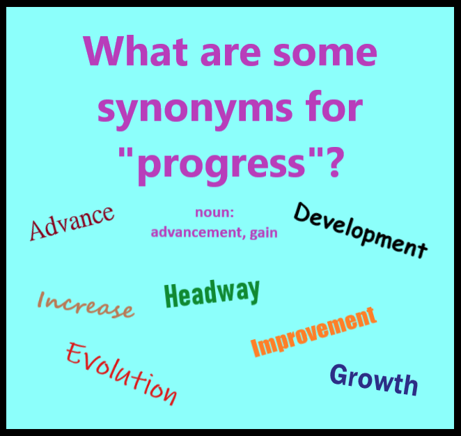 Word Of The Day Can You Think Of Any Other Synonyms For The Word Progress When Used As A Noun Progress Synonym Learn English Social Skills