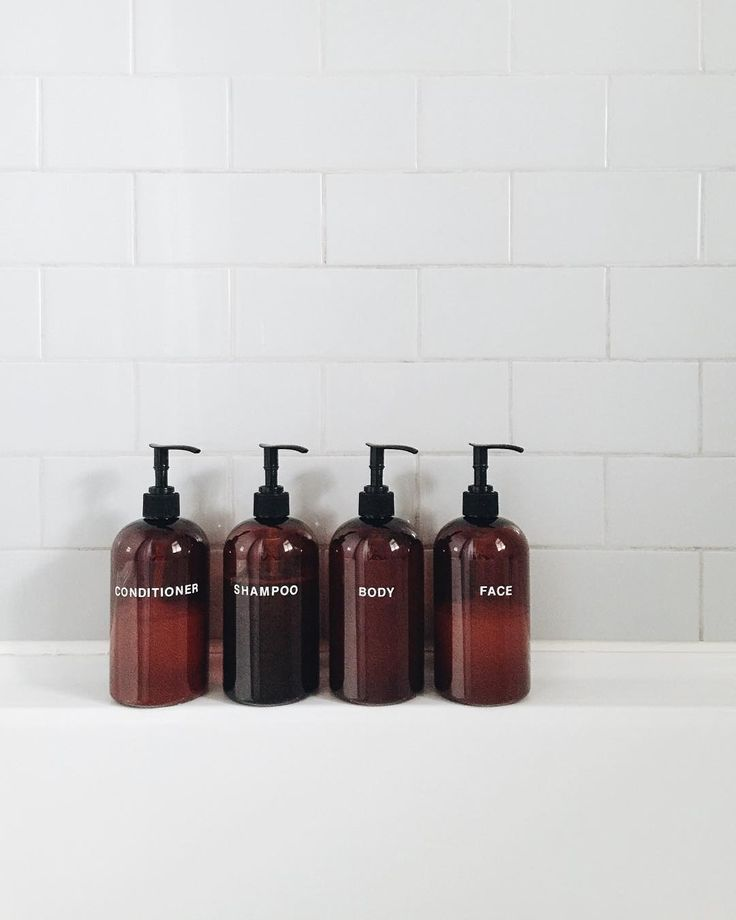 """Photo of Lee (the Bee) Vosburgh on Instagram: """"Another finishing touch on the bathroom, matching soap bottles! Next best thing to a full set of Aesop and much more affordable ☺️ DIY by…"""""""