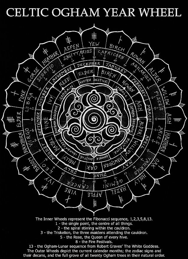 Circular wheel chart of the year upon which are zodiac signs and calendar months showing their relationship with twenty trees druidic ogham also celtic rh pinterest