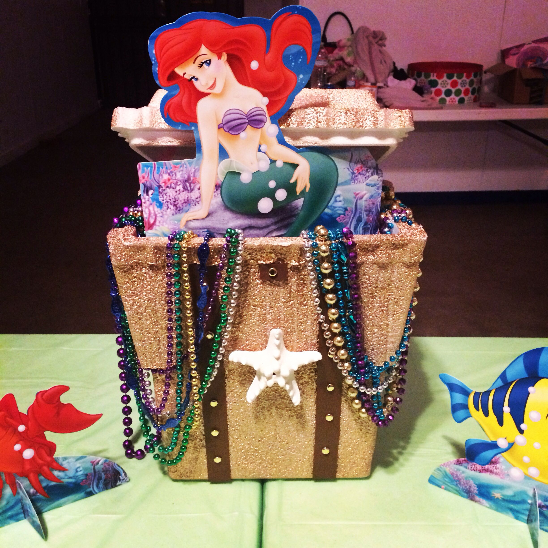 little mermaid styrofoam treasure chest centerpiece party ideas pinterest mermaids. Black Bedroom Furniture Sets. Home Design Ideas