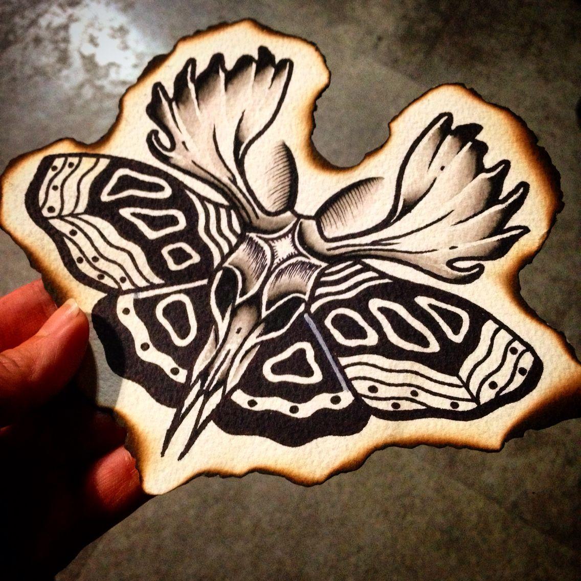 Traditional Butterfly Tattoo Flash: Black Work Tattoo Moth Tattoo Flash Water Color