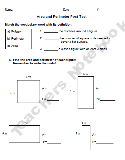 area and perimeter assessment w answers student assessment area perimeter math classroom. Black Bedroom Furniture Sets. Home Design Ideas