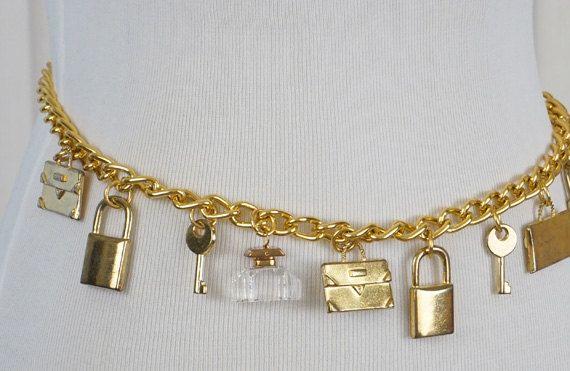 Vintage Gold Chain Belt with Lock Key Ink Bottle Briefcase Embellishments