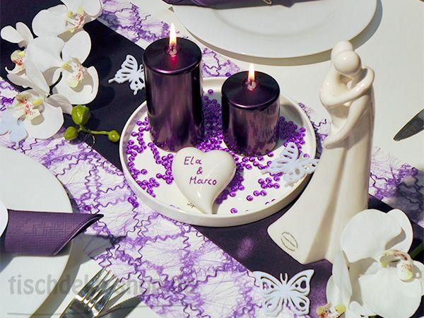 tischdekoration zur hochzeit in violett mit brautpaar skulptur dekoideen pinterest. Black Bedroom Furniture Sets. Home Design Ideas