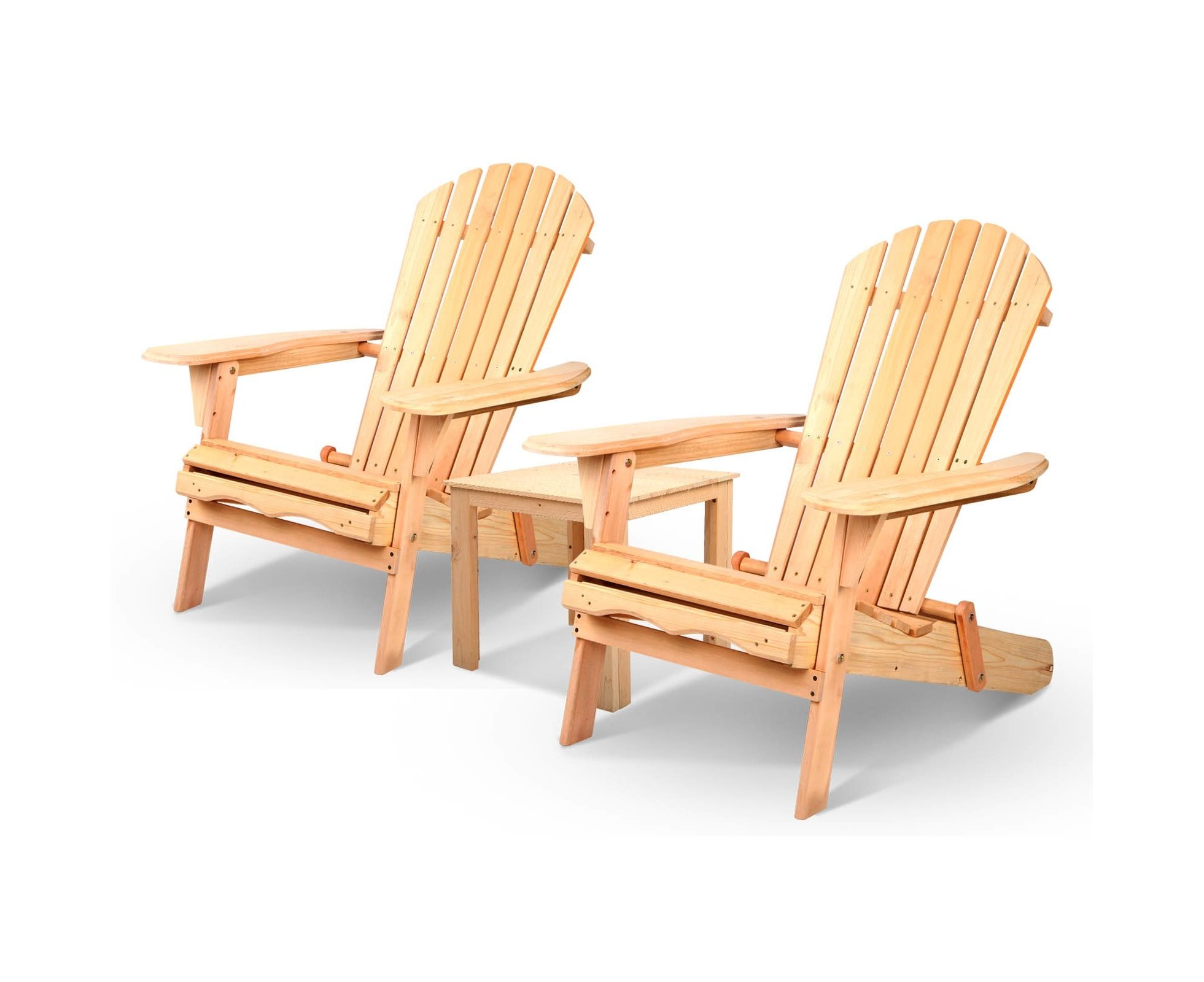 3PC Outdoor Chairs Setting Beach Chair Table Wooden