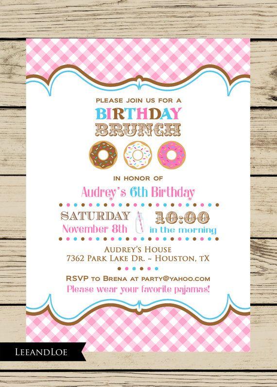 girl birthday party brunch invitation-donuts brunch by leeandloe, Birthday invitations