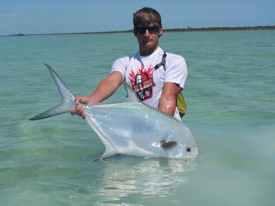 Permit taken on a blue crab fly in the fl keys back for Fly fishing florida