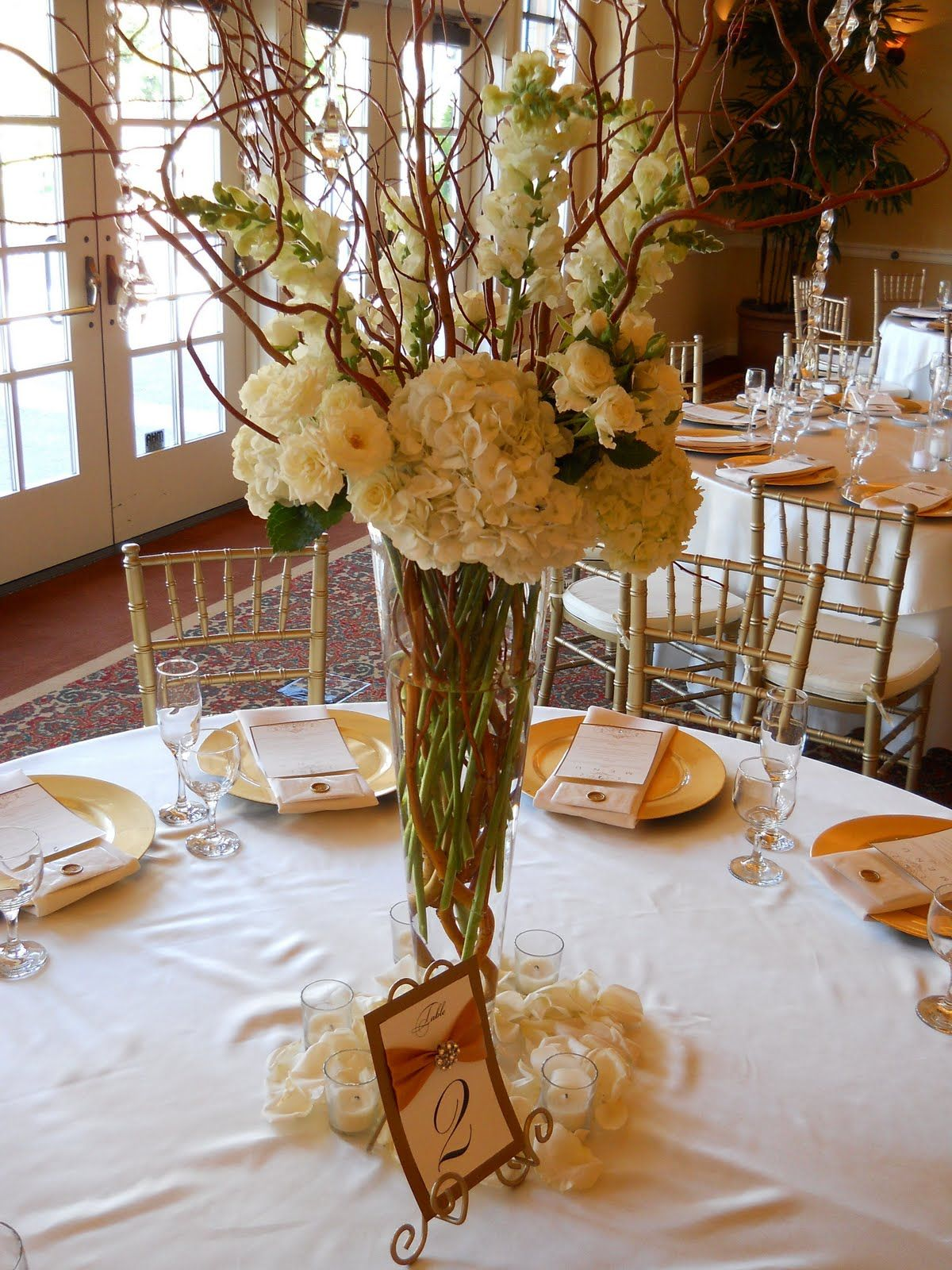 Pictures of wedding centerpieces with willow branches and