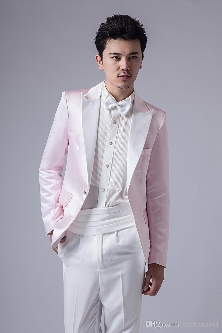 Grey And Light Pink Tuxedo Groom