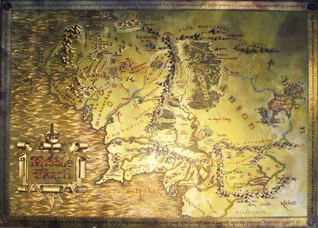 Lord Of The Rings The Hobbit Map Of Middle-earth Movie Posters Ancient Ways Map