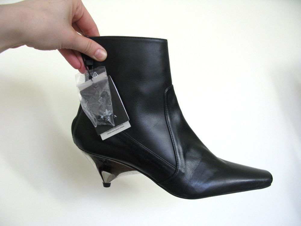 Nwt Zara Black Leather Ankle Back Zip Boots With Silver Kitten Heel Zara Ankleboots Silver Kitten Heels Boots Heels