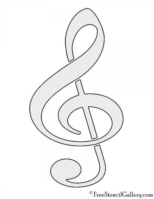 Treble Clef Stencil With Images Free Clip Art Music Symbols