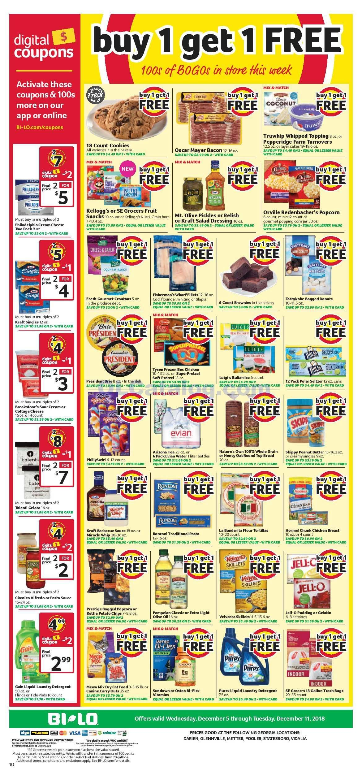 Browse Bi Lo Buy One Get Free 100s BOGOs In The Store This Week Digital Coupons Sales Ad Grocery Savings