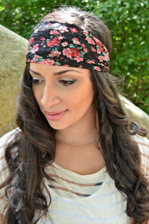 Floral Stretch Head Wrap Chic Head wrap by JLeeJewels on Etsy