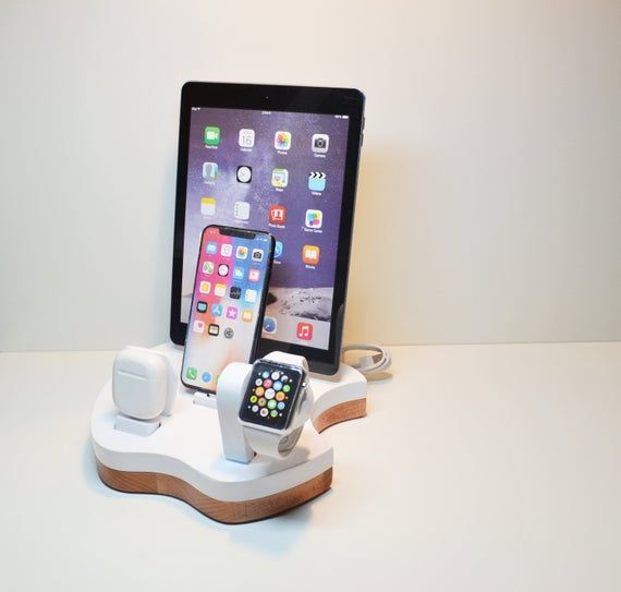 iDOQQ Apple 4 Charging Station and Organizer, Charging Station for Apple iPhone and iPad AirPods and Apple Watch