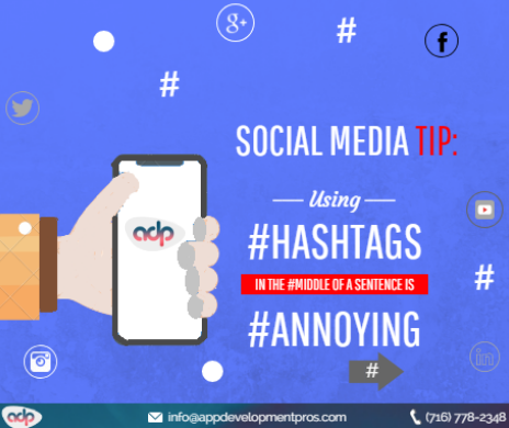 Social media tip: Use relevant or branded hashtags only at