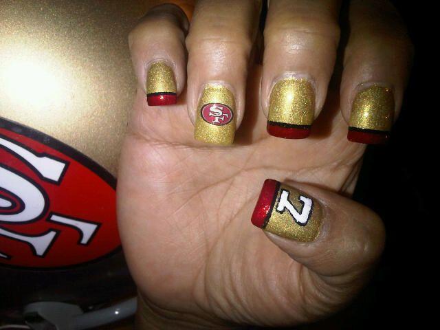San Francisco 49ers Nail Art Cherry Ocampo 49ers Nails Nails Sports Nails