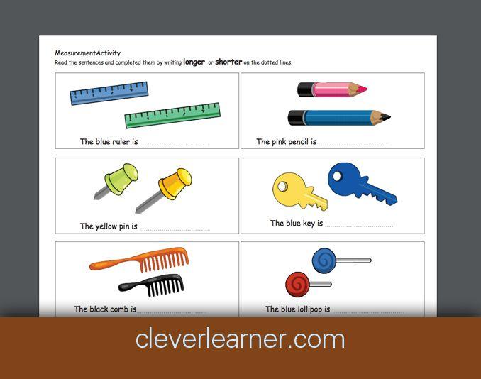 Free printable worksheets on measurement. Long or shor? Longer or ...